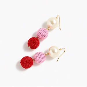 J. Crew Crochet Bead and Pearl Drop Earrings
